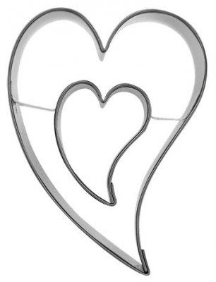 Herz S, schief, doppelt - 6,5 cm - Alle Ausstechformen - Ausstecher.de